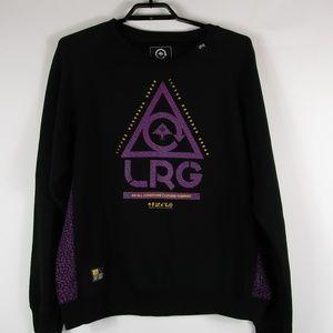 LRG mens crew neck sweater XL Black Purple Great!